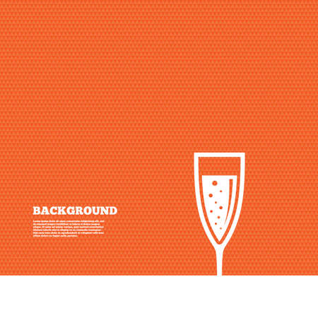 champagne orange: Background with seamless pattern. Glass of champagne sign icon. Sparkling wine with bubbles. Celebration or banquet alcohol drink symbol. Triangles orange texture. Vector