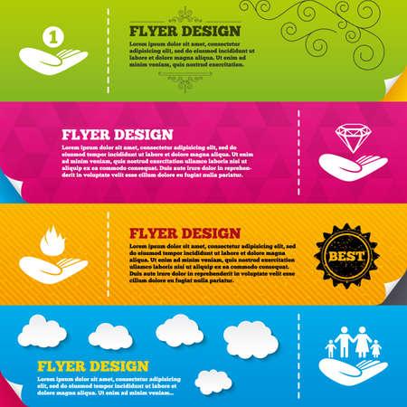 flyer brochure designs helping hands icons financial money