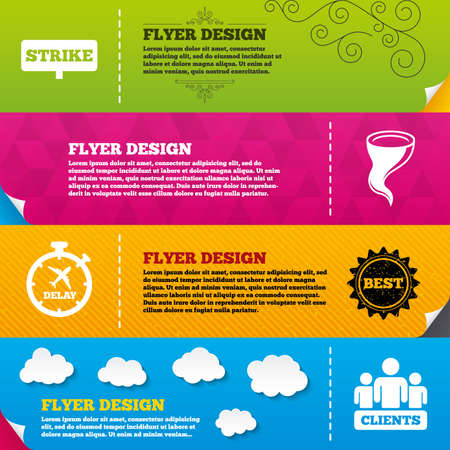 group icon: Flyer brochure designs. Strike icon. Storm bad weather and group of people signs. Delayed flight symbol. Frame design templates. Vector Illustration