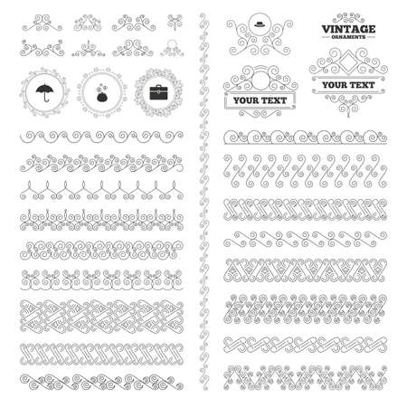 business case: Vintage ornaments. Flourishes calligraphic. Clothing accessories icons. Umbrella and headdress hat signs. Wallet with cash coins, business case symbols. Invitations elements. Vector
