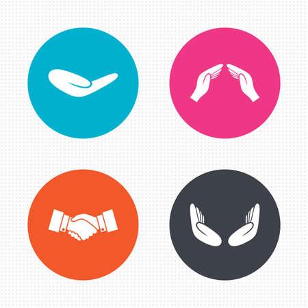 원형 단추입니다. 손 아이콘입니다. 핸드 셰이크 성공적인 비즈니스 기호입니다. 보험 보호 기호입니다. 인간의 도움 기부 손입니다. 기도 명상 손. 원