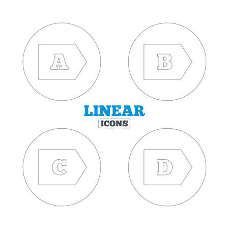 d mark: Energy efficiency class icons. Energy consumption sign symbols. Class A, B, C and D. Linear outline web icons. Vector