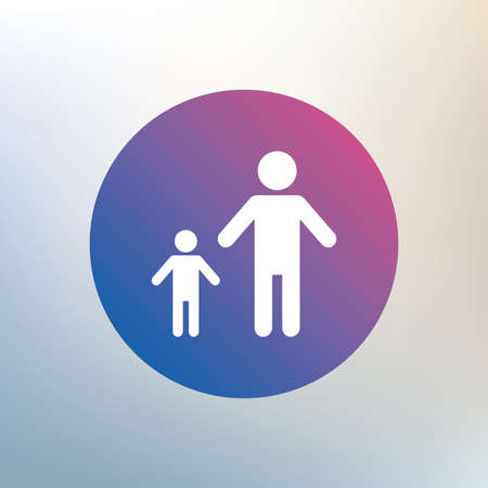 one child: One-parent family with one child sign icon. Father with son symbol. Icon on blurred background. Vector