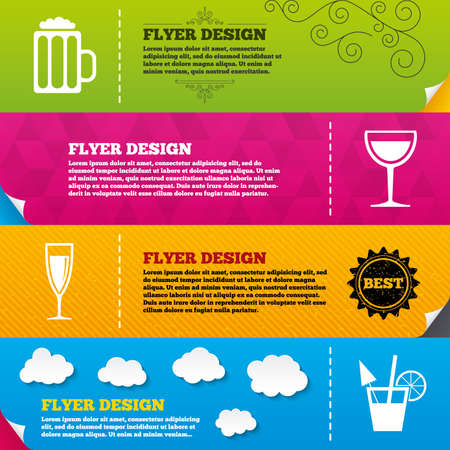 alcoholic drinks: Flyer brochure designs. Alcoholic drinks icons. Champagne sparkling wine and beer symbols. Wine glass and cocktail signs. Frame design templates. Vector