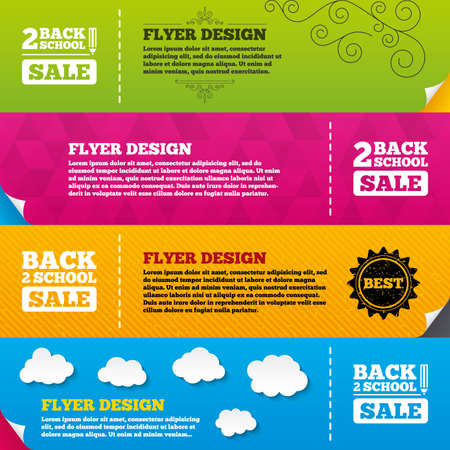after school: Flyer brochure designs. Back to school sale icons. Studies after the holidays signs. Pencil symbol. Frame design templates. Vector