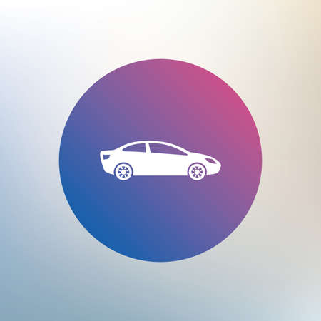 saloon: Car sign icon. Sedan saloon symbol. Transport. Icon on blurred background. Vector