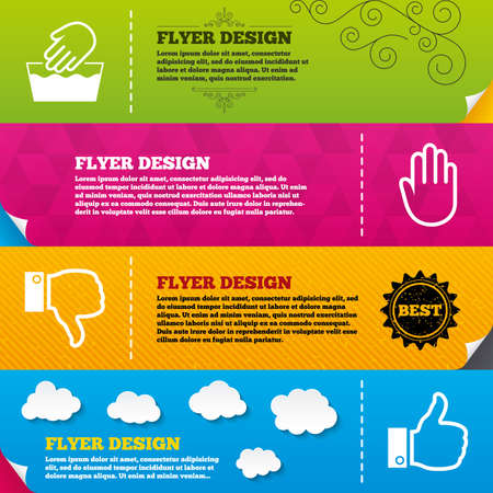 washable: Flyer brochure designs. Hand icons. Like and dislike thumb up symbols. Not machine washable sign. Stop no entry. Frame design templates. Vector