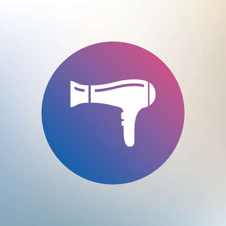 blow drying: Hairdryer sign icon. Hair drying symbol. Icon on blurred background. Vector Illustration