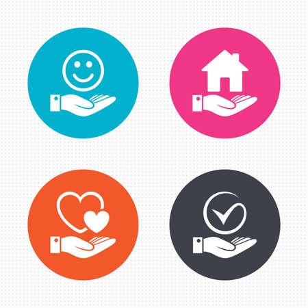 carita feliz: Botones de c�rculo. Sonrisa y el icono de la mano. Coraz�n y Tick o Comprobar s�mbolo. Palma tiene signo de construcci�n de viviendas. Perfecta textura cuadrados. Vector