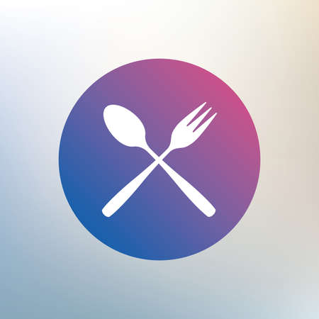 teaspoon: Eat sign icon. Cutlery symbol. Dessert fork and teaspoon crosswise. Icon on blurred background. Vector