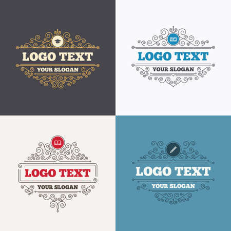 higher: Flourishes calligraphic emblems. Pencil and open book icons. Graduation cap symbol. Higher education learn signs. Luxury ornament lines. Vector