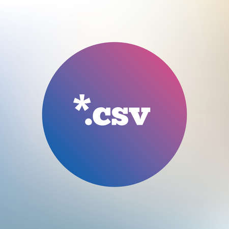 csv: File document icon. Download tabular data file button. CSV file extension symbol. Icon on blurred background. Vector