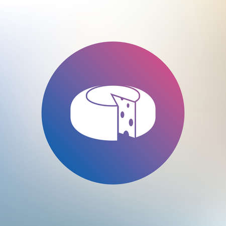 sliced: Queso icono de signo de la rueda. Rebanado s�mbolo queso. Queso redondo con agujeros. Icono en el fondo borroso. Vector