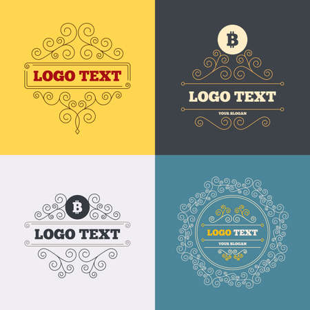 p2p: Vintage flourishes calligraphic. Bitcoin sign icon. Cryptography currency symbol. P2P. Luxury ornament lines. Vector