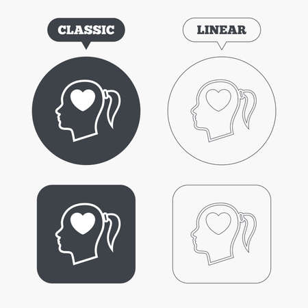 pigtail: Head with heart sign icon. Female woman human head in love with pigtail symbol. Classic and line web buttons. Circles and squares. Vector Illustration