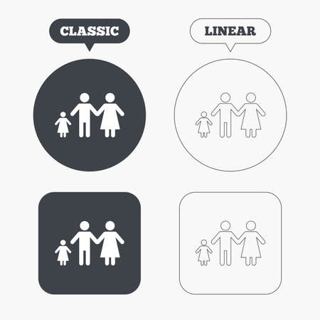 family with one child: Family with one child sign icon. Complete family symbol. Classic and line web buttons. Circles and squares. Vector Illustration