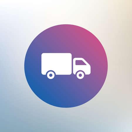 cargo van: Delivery truck sign icon. Cargo van symbol. Icon on blurred background. Vector Illustration
