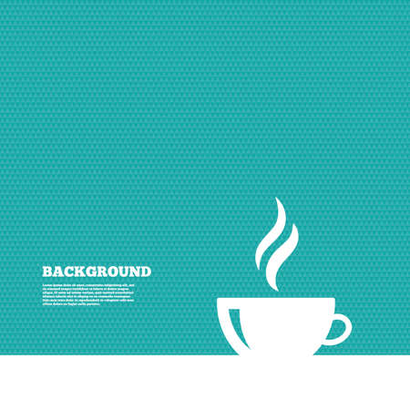green texture: Background with seamless pattern. Coffee cup sign icon. Hot coffee button. Hot tea drink with steam. Triangles green texture. Vector Illustration