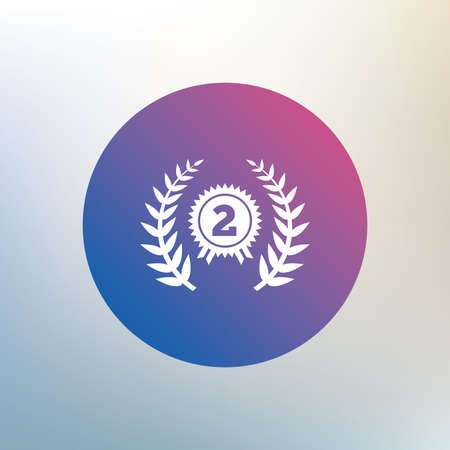 second prize: Second place award sign icon. Prize for winner symbol. Laurel Wreath. Icon on blurred background. Vector Illustration