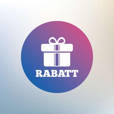 Rabatt - Aktionen in deutschen Zeichen-Symbol. Geschenk-Box mit Bändern Symbol. Icon auf unscharfen Hintergrund. Vektor Standard-Bild - 41884271