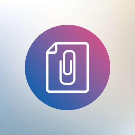attach: File annex icon. Paper clip symbol. Attach symbol. Icon on blurred background. Vector