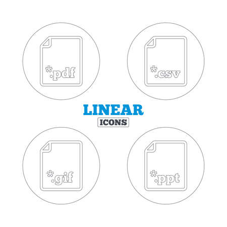 gif: Download document icons. File extensions symbols. PDF, GIF, CSV and PPT presentation signs. Linear outline web icons. Vector