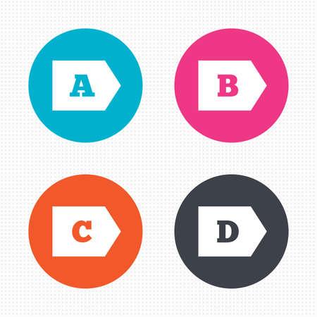 consumo energia: Pulsanti di cerchio. Classe di efficienza energetica icone. Energia simboli consumo segno. Classe A, B, C e D. Seamless piazze texture. Vettore