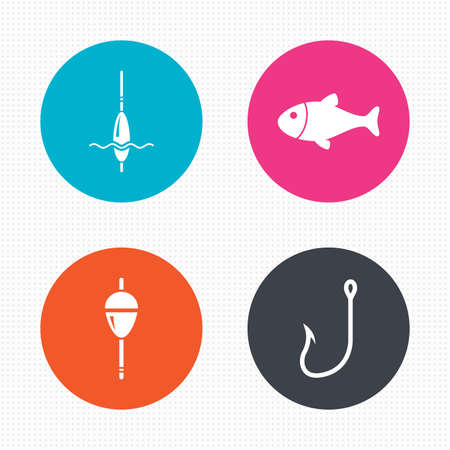 bobber: Circle buttons. Fishing icons. Fish with fishermen hook sign. Float bobber symbol. Seamless squares texture. Vector
