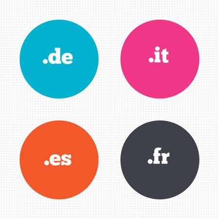 vector es: Circle buttons. Top-level internet domain icons. De, It, Es and Fr symbols. Unique national DNS names. Seamless squares texture. Vector