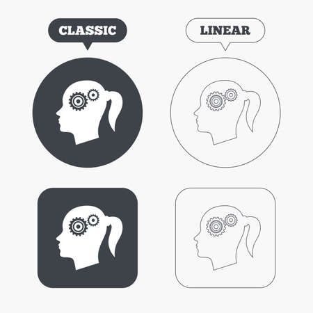 classic woman: Head with gears sign icon. Female woman human head think symbol. Classic and line web buttons. Circles and squares. Vector Illustration