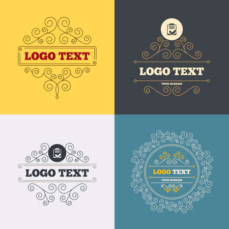 poll: Vintage flourishes calligraphic. Checklist sign icon. Control list symbol. Survey poll or questionnaire feedback form. Luxury ornament lines. Vector