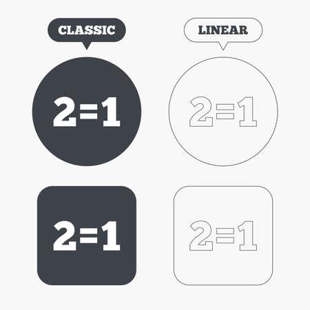 equals: Zwei f�r einen Zeichen-Symbol. Nehmen Sie zwei Lohn f�r einen Verkauf-Taste. 2 gleich 1 ist klassisch und Linie Web-Schaltfl�chen. Kreise und Quadrate. Vektor