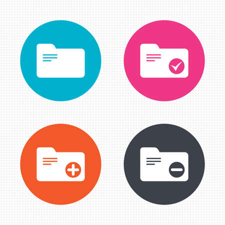 checkbox: Circle buttons. Accounting binders icons. Add or remove document folder symbol. Bookkeeping management with checkbox. Seamless squares texture. Vector