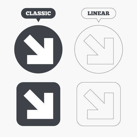 next button: Arrow sign icon. Next button. Navigation symbol. Classic and line web buttons. Circles and squares. Vector Illustration