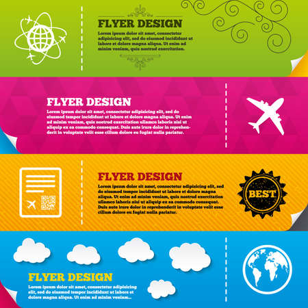 boarding: Flyer brochure designs. Airplane icons. World globe symbol. Boarding pass flight sign. Airport ticket with QR code. Frame design templates. Vector
