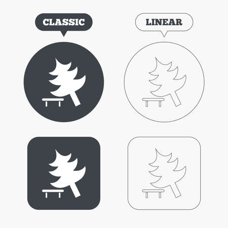 break down: Falling tree sign icon. Caution break down christmas tree symbol. Classic and line web buttons. Circles and squares. Vector Illustration