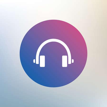 earphones: Headphones sign icon. Earphones button. Icon on blurred background. Vector