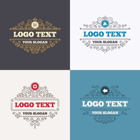 puzzle corners: Flourishes calligraphic emblems. Plus add circle and puzzle piece icons. Document file and back arrow sign symbols. Luxury ornament lines. Vector