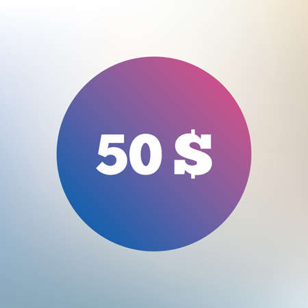 usd: 50 Dollars sign icon. USD currency symbol. Money label. Icon on blurred background. Vector