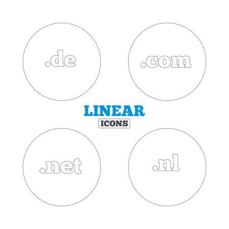 nl: Top-level internet domain icons. De, Com, Net and Nl symbols. Unique national DNS names. Linear outline web icons. Vector Illustration