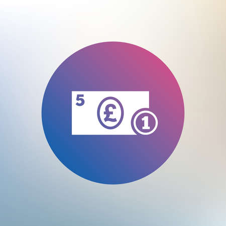 pound coin: Cash sign icon. Pound Money symbol. GBP Coin and paper money. Icon on blurred background. Vector Illustration