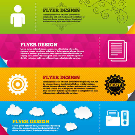auditing: Flyer brochure designs. Accounting workflow icons. Human silhouette, cogwheel gear and documents folders signs symbols. Frame design templates. Vector