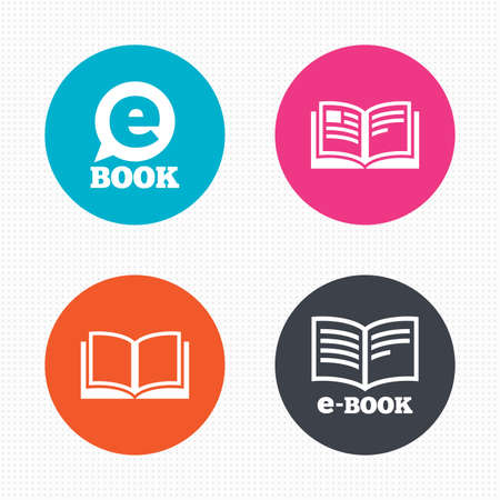 book reader: Circle buttons. Electronic book icons. E-Book symbols. Speech bubble sign. Seamless squares texture. Vector Illustration