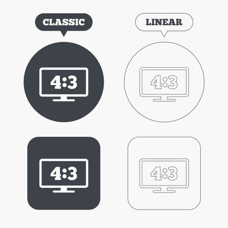 4 3 display: Aspect ratio 4:3 widescreen tv sign icon. Monitor symbol. Classic and line web buttons. Circles and squares. Vector