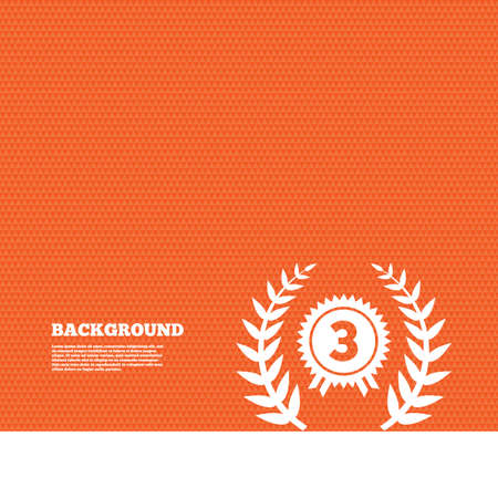 orange texture: Background with seamless pattern. Third place award sign icon. Prize for winner symbol. Laurel Wreath. Triangles orange texture. Vector