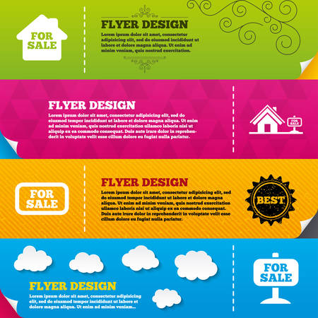house for sale: Flyer brochure designs. For sale icons. Real estate selling signs. Home house symbol. Frame design templates. Vector