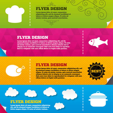 fresh seafood: Flyer brochure designs. Chief hat and cooking pan icons. Fish and chicken signs. Boil or stew food symbol. Frame design templates. Vector