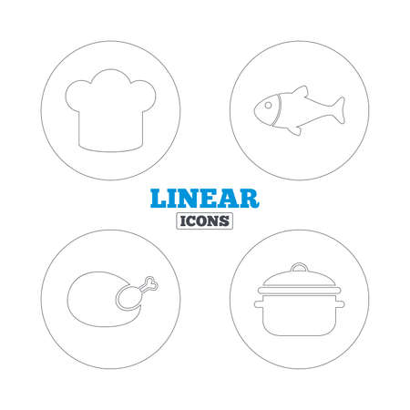 boil: Chief hat and cooking pan icons. Fish and chicken signs. Boil or stew food symbol. Linear outline web icons. Vector