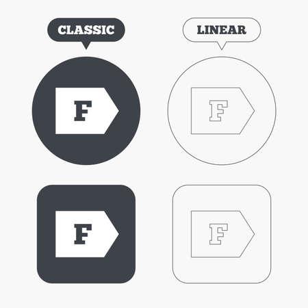 consumo energia: Classe di efficienza energetica F icona segno. Energia simbolo consumi. Classic e la linea web pulsanti. Cerchi e quadrati. Vettore
