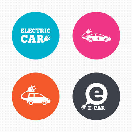 hatchback: Circle buttons. Electric car icons. Sedan and Hatchback transport symbols. Eco fuel vehicles signs. Seamless squares texture. Vector Illustration
